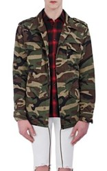 Saint Laurent Men's Cotton Love Appliqued Field Jacket Dark Green