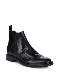 Brioni Goodyear Leather Brogue Ankle Boots Black