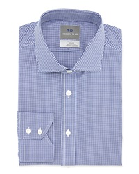 Thomas Dean No Iron Check Print Dress Shirt Blue
