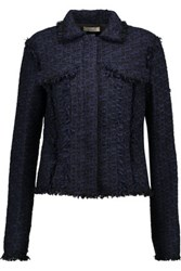 Nina Ricci Wool Blend Tweed Jacket Midnight Blue