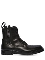 Dolce And Gabbana Firenze Leather Lace Up Boots Black