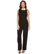 Ivanka Trump Scuba Crepe White Collar Jumpsuit Black Ivory Jumpsuit And Rompers One Piece