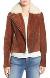 Andrew Marc New York Women's Suede Jacket With Genuine Shearling Collar Cognac