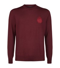 Billionaire Crested Crew Neck Sweater Male Plum