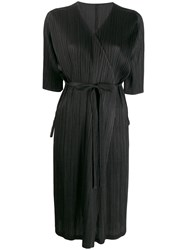 Issey Miyake Pleats Please By Pleated Satin Wrap Coat Black