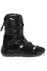 Moncler Cora Suede Trimmed Quilted Shell Ankle Boots Black