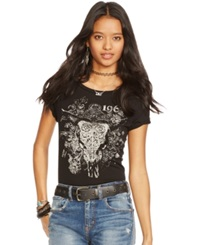Denim And Supply Ralph Lauren Graphic Tee Polo Black Decorative Steer