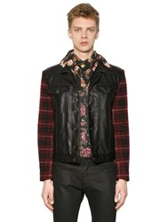Antonio Marras Faux Leather And Wool Plaid Jacket