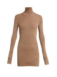 Bottega Veneta Ribbed Roll Neck Cashmere Sweater Camel