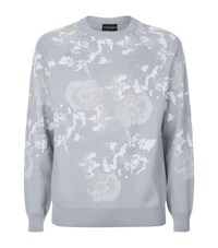 Armani Floral Jacquard Knitted Sweater Grey
