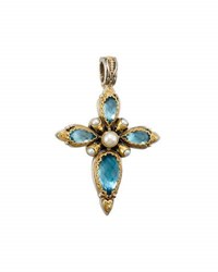 Konstantino Amphitrite Teardrop Topaz And Pearl Cross Pendant Enhance Blue