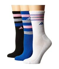Adidas Retro Ii 3 Pack Crew Black Heather Grey Blue Pink Glow White Women's Crew Cut Socks Shoes Multi