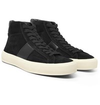 Tom Ford Leather Panelled Suede High Top Sneakers Black