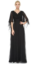 Reem Acra Silk Chiffon Cowl Front Gown Black
