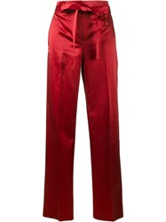 Helmut Lang Satin Wide Leg Trousers Red