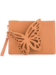 Sophia Webster Butter Pattern Clutch Bag Brown