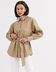 Moon River Faux Leather Shirt With Belt Beige