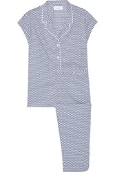 Three J Nyc Poppy Polka Dot Cotton Poplin Pajama Set Navy