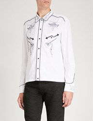 The Soloist Rock'n'roll Embroidery Cotton And Silk Blend Shirt White
