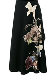 Valentino 'Kimono 1997' Embroidered Maxi Skirt Black