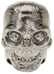 Alexander Mcqueen Silver Etched Diamante Skull Ring