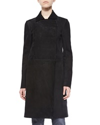 Helmut Lang Collared Long Suede Coat