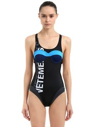 Vetements Logo Printed Lycra One Piece Swimsuit Black