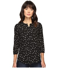Nydj 3 4 Sleeve Pleat Back Dandelion Glimmer Women's Blouse Black
