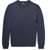 A.P.C. Melange Cotton Blend Sweater Navy