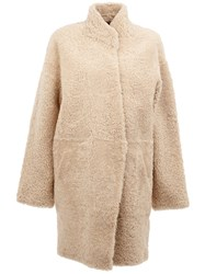 32 Paradis Sprung Freres Reversible Shearling Coat Nude And Neutrals