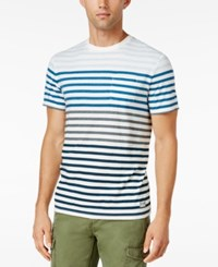 Tommy Hilfiger Men's Big And Tall Transport Stripe T Shirt Snow White