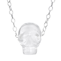 Ali Grace Jewelry Crystal Skull Necklace Silver