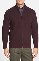 Men's Maker And Company Honeycomb Knit Wool And Cashmere Zip Cardigan Burgundy