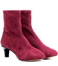 Isabel Marant Daevel Suede Ankle Boots Red