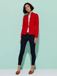 Shanghai Tang Cashmere Cardigan With Chinese Tales Silk Lining Red