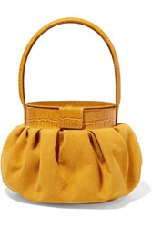 Rejina Pyo Chef Suede And Croc Effect Leather Tote Mustard