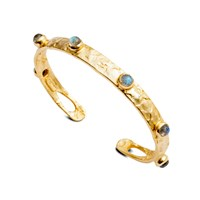 Azuni London Selene Studded Bangle In Gold And Labradorite