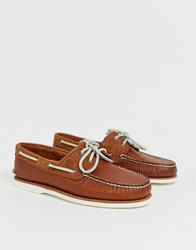 Timberland Classic Woven Boat Shoes In Tan Leather