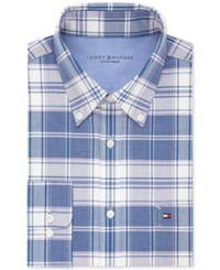 Tommy Hilfiger Men's Slim Fit Comfort Wash Untucked Dress Shirt Only At Macy's Ink Blue Plaid