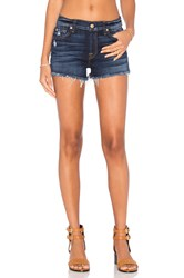 7 For All Mankind Distressed Cut Off Short Mykonos Dark Indigo