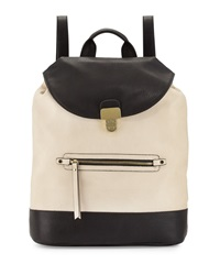 Neiman Marcus Turn Lock Flap Faux Leather Backpack Bone Black
