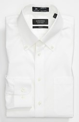 Men's Big And Tall Nordstrom Smartcare Wrinkle Free Solid Pinpoint Cotton Trim Fit Dress Shirt White