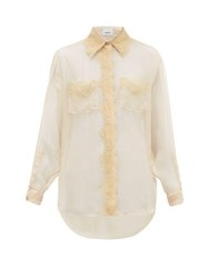 Burberry Shelly Lace Trimmed Mulberry Silk Chiffon Blouse Light Pink