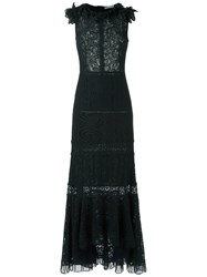 Martha Medeiros Lace Gown Women Cotton Polyamide Viscose 42 Black