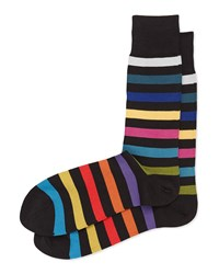 Rainbow Stripe Socks Black Black Paul Smith