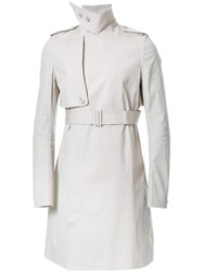 Rick Owens Belted Trench Coat Grey