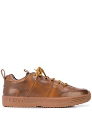 Buscemi Panelled Logo Sneakers Brown