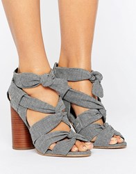 Asos Total Knockout Knotted Sandals Gray