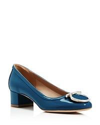 Salvatore Ferragamo Ena Gancini Low Heel Pumps Pacific Blue Silver