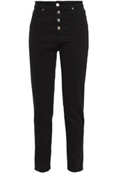 Iro Woman Cropped Faded High Rise Slim Leg Jeans Black